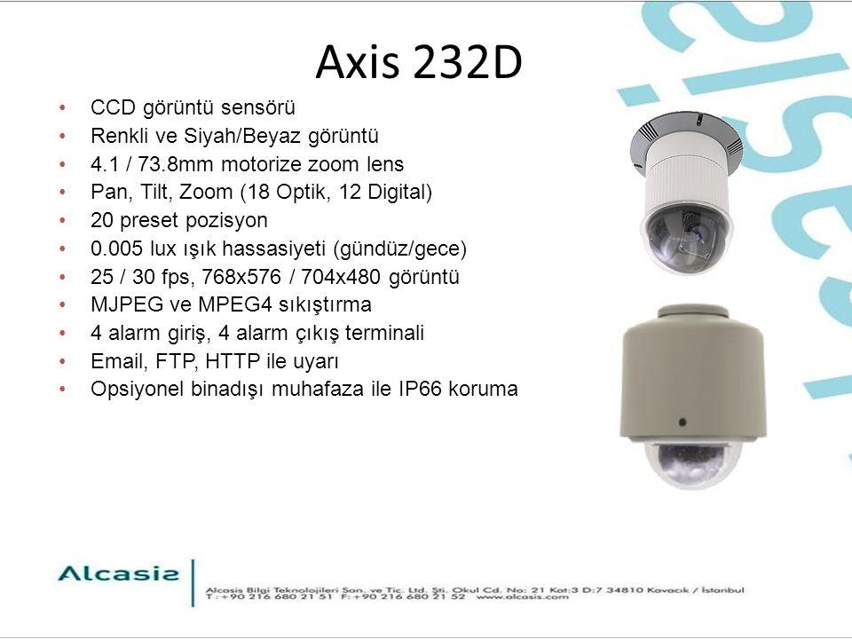 Axis 232D CCD görüntü sensörü Renkli ve Siyah/Beyaz görüntü 4.1 / 73.8mm motorize zoom lens Pan, Tilt, Zoom (18 Optik, 12 Digital) 20 preset pozisyon 0.005 lux ışık hassasiyeti (gündüz/gece) 25 / 30 fps, 768x576 / 704x480 görüntü MJPEG ve MPEG4 sıkıştırma 4 alarm giriş, 4 alarm çıkış terminali Email, FTP, HTTP ile uyarı Opsiyonel binadışı muhafaza ile IP66 koruma