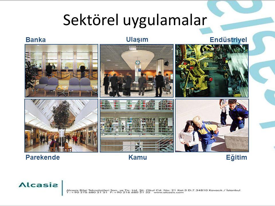 Sektörel uygulamalar Parekende Banka Ulaşım KamuEğitim Endüstriyel
