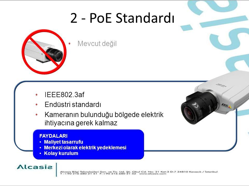2 - PoE Standardı IEEE802.3af Endüstri standardı Kameranın bulunduğu bölgede elektrik ihtiyacına gerek kalmaz FAYDALARI Maliyet tasarrufu Merkezi olarak elektrik yedeklemesi Kolay kurulum Mevcut değil