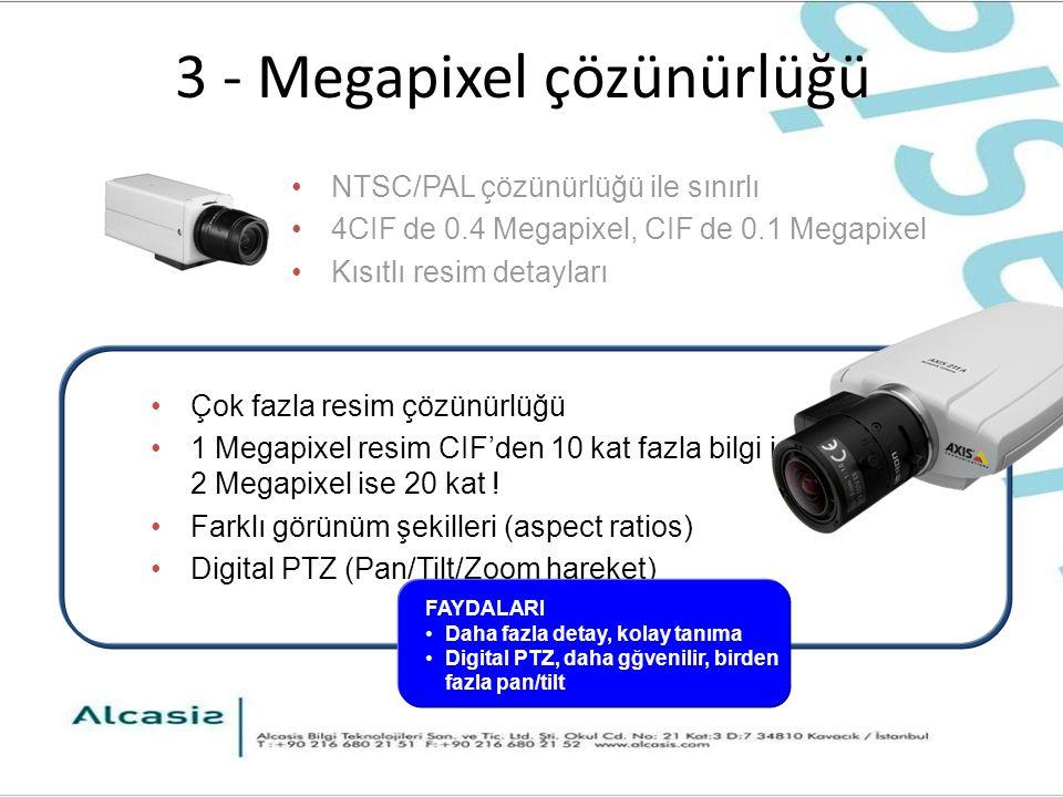 3 - Megapixel çözünürlüğü Çok fazla resim çözünürlüğü 1 Megapixel resim CIF'den 10 kat fazla bilgi içerir 2 Megapixel ise 20 kat .