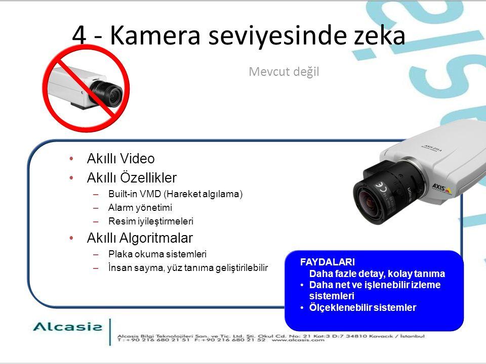 4 - Kamera seviyesinde zeka Akıllı Video Akıllı Özellikler –Built-in VMD (Hareket algılama) –Alarm yönetimi –Resim iyileştirmeleri Akıllı Algoritmalar –Plaka okuma sistemleri –İnsan sayma, yüz tanıma geliştirilebilir Mevcut değil FAYDALARI Daha fazle detay, kolay tanıma Daha net ve işlenebilir izleme sistemleri Ölçeklenebilir sistemler