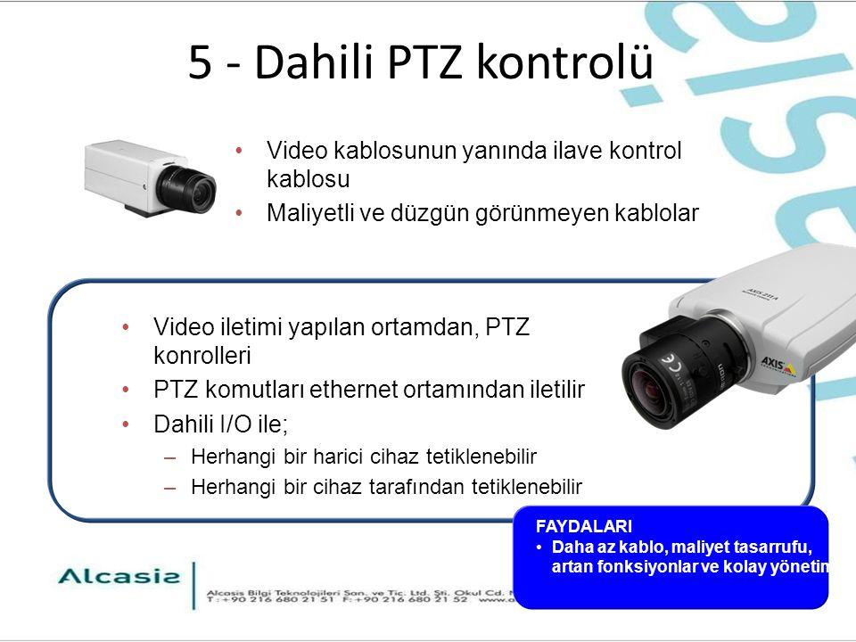 5 - Dahili PTZ kontrolü Video iletimi yapılan ortamdan, PTZ konrolleri PTZ komutları ethernet ortamından iletilir Dahili I/O ile; –Herhangi bir harici cihaz tetiklenebilir –Herhangi bir cihaz tarafından tetiklenebilir Video kablosunun yanında ilave kontrol kablosu Maliyetli ve düzgün görünmeyen kablolar FAYDALARI Daha az kablo, maliyet tasarrufu, artan fonksiyonlar ve kolay yönetim