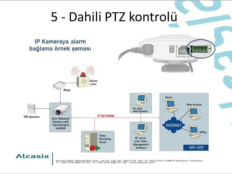 5 - Dahili PTZ kontrolü IP Kameraya alarm bağlama örnek şeması