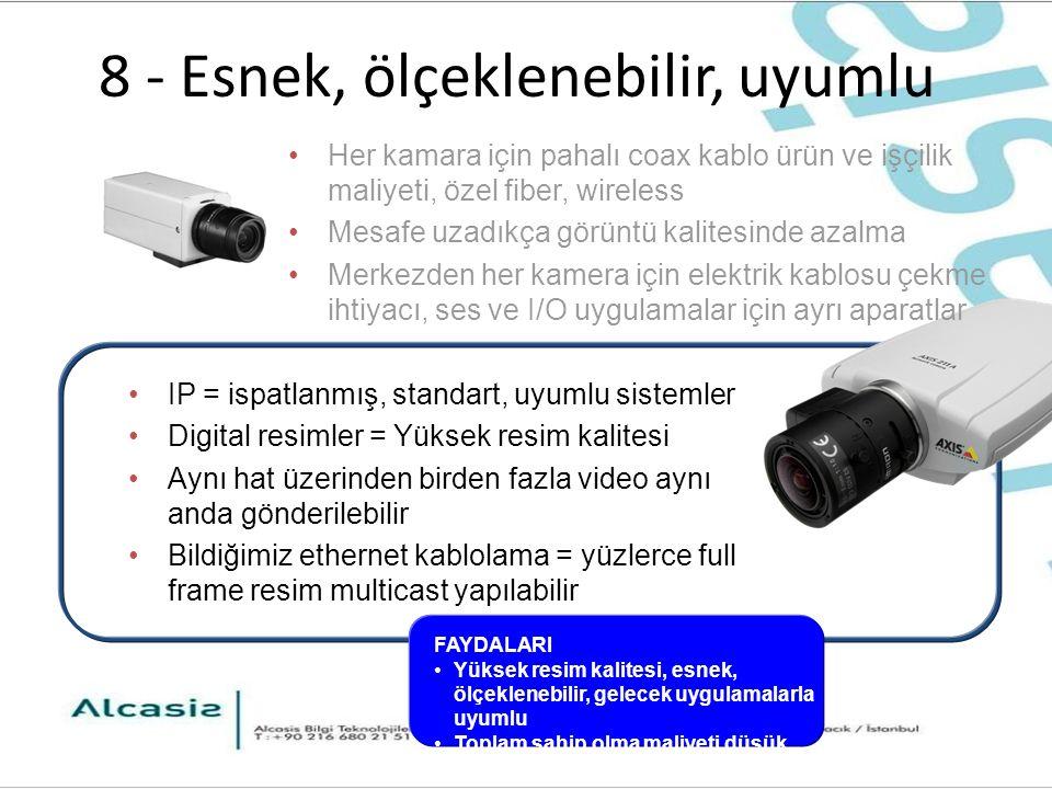 8 - Esnek, ölçeklenebilir, uyumlu IP = ispatlanmış, standart, uyumlu sistemler Digital resimler = Yüksek resim kalitesi Aynı hat üzerinden birden fazla video aynı anda gönderilebilir Bildiğimiz ethernet kablolama = yüzlerce full frame resim multicast yapılabilir Her kamara için pahalı coax kablo ürün ve işçilik maliyeti, özel fiber, wireless Mesafe uzadıkça görüntü kalitesinde azalma Merkezden her kamera için elektrik kablosu çekme ihtiyacı, ses ve I/O uygulamalar için ayrı aparatlar FAYDALARI Yüksek resim kalitesi, esnek, ölçeklenebilir, gelecek uygulamalarla uyumlu Toplam sahip olma maliyeti düşük