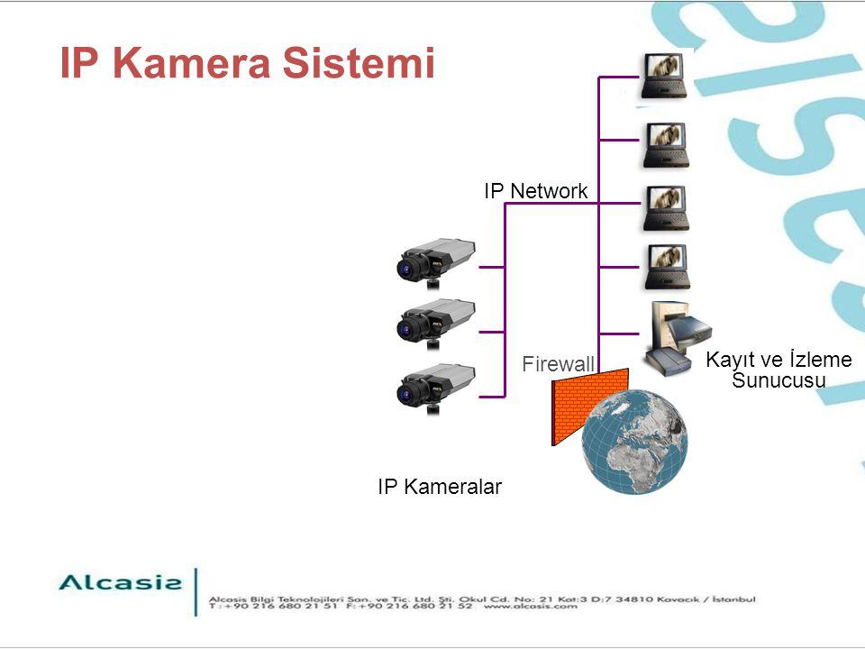 Axis 211 CCD görüntü sensörü Renkli ve Siyah/Beyaz görüntü 3 / 8mm varifocal oto-iris lens 0.75 lux ışık hassasiyeti 30 fps, 640x480 VGA görüntü MJPEG ve MPEG4 sıkıştırma Çok bölgeli hareket algılama özelliği 1 alarm giriş, 1 alarm çıkış terminali Email, FTP, HTTP ile uyarı Power over Ethernet Opsiyonel binadışı muhafaza ile IP66 koruma