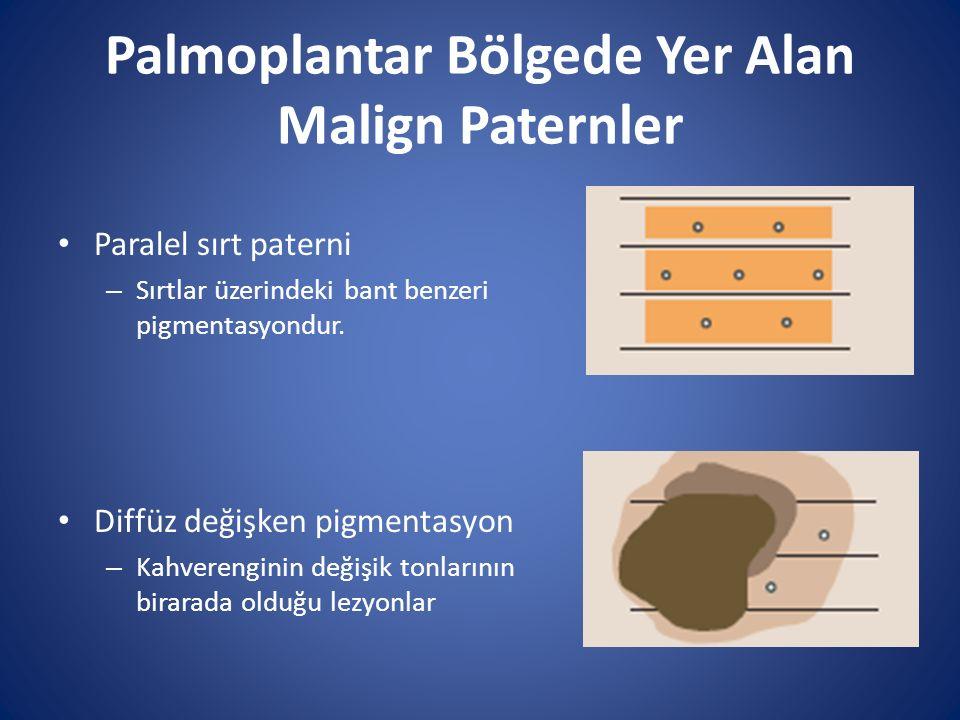 Palmoplantar Bölgede Yer Alan Malign Paternler Paralel sırt paterni – Sırtlar üzerindeki bant benzeri pigmentasyondur. Diffüz değişken pigmentasyon –