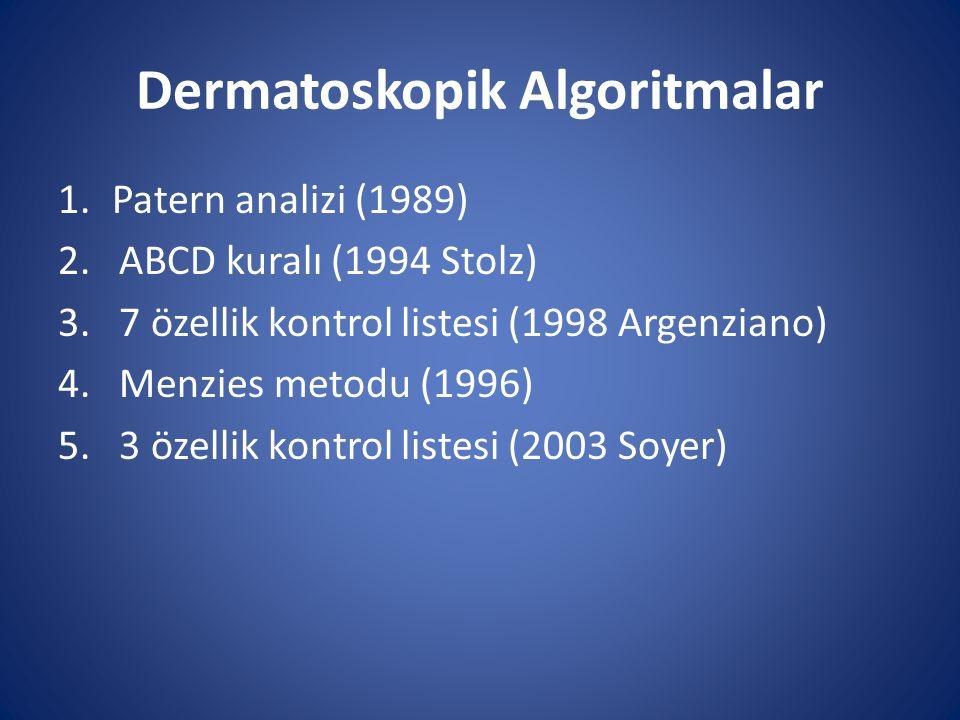 Dermatoskopik Algoritmalar 1.Patern analizi (1989) 2. ABCD kuralı (1994 Stolz) 3. 7 özellik kontrol listesi (1998 Argenziano) 4. Menzies metodu (1996)