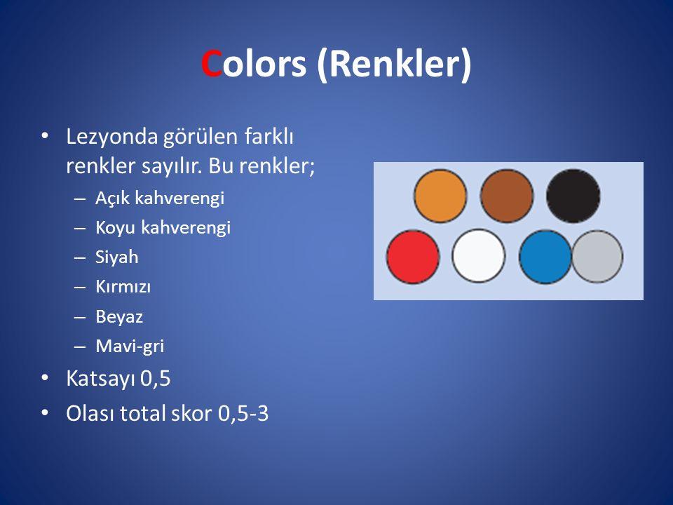 Colors (Renkler) Lezyonda görülen farklı renkler sayılır. Bu renkler; – Açık kahverengi – Koyu kahverengi – Siyah – Kırmızı – Beyaz – Mavi-gri Katsayı