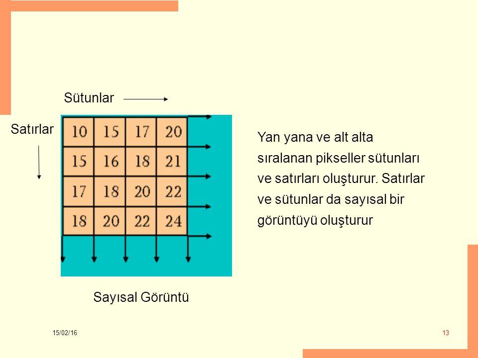 15/02/16 13 Sayısal Görüntü Sütunlar Satırlar Yan yana ve alt alta sıralanan pikseller sütunları ve satırları oluşturur. Satırlar ve sütunlar da sayıs