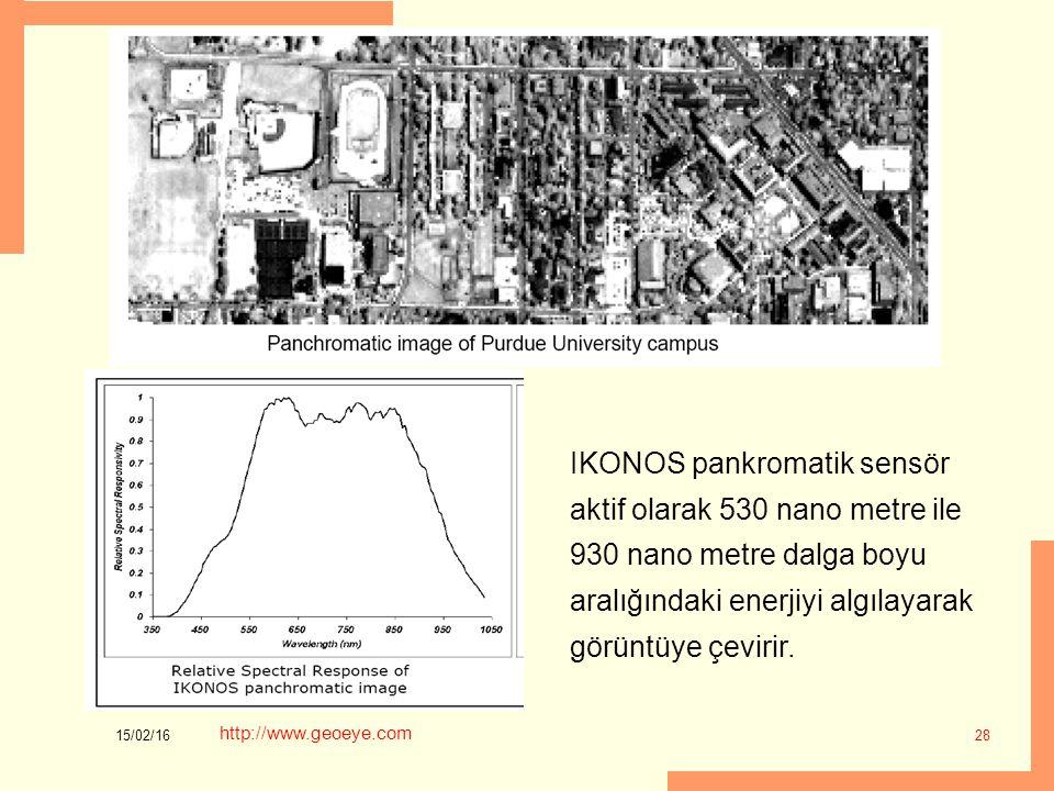 15/02/16 28 IKONOS pankromatik sensör aktif olarak 530 nano metre ile 930 nano metre dalga boyu aralığındaki enerjiyi algılayarak görüntüye çevirir. h