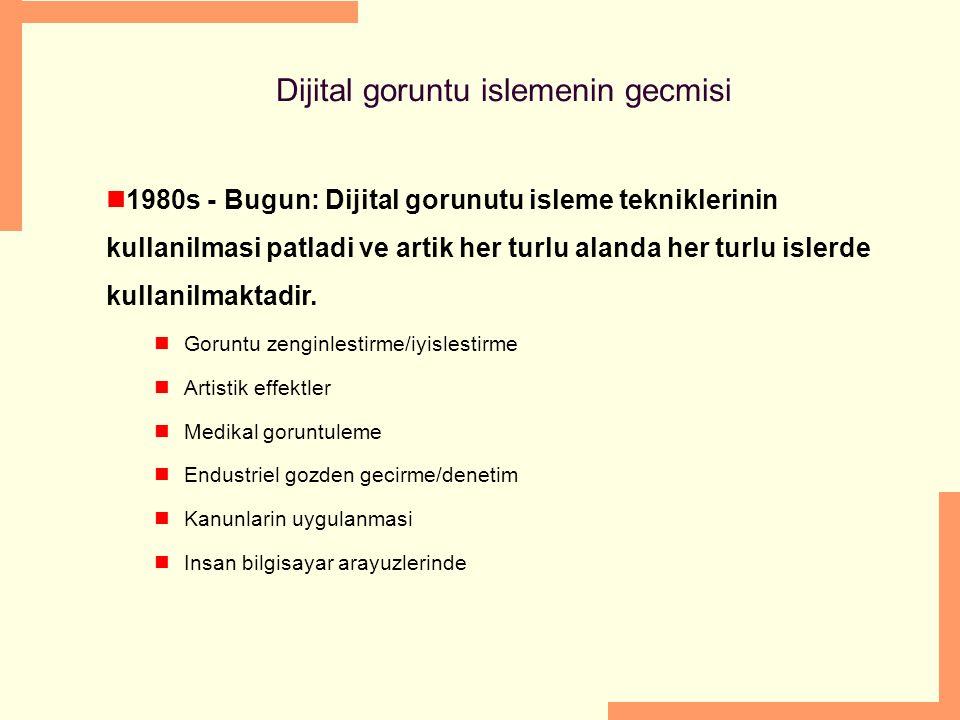 Dijital goruntu islemenin gecmisi 1980s - Bugun: Dijital gorunutu isleme tekniklerinin kullanilmasi patladi ve artik her turlu alanda her turlu islerd