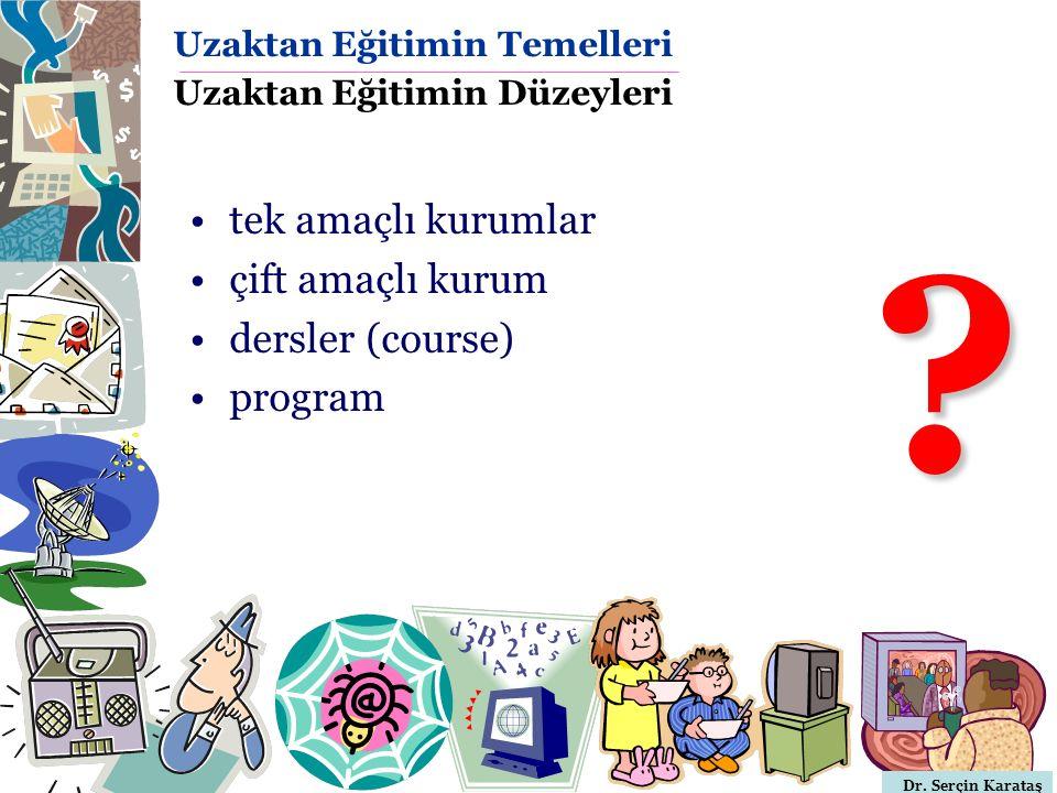 Dr. Serçin Karataş Uzaktan Eğitimin Temelleri Uzaktan Eğitimin Düzeyleri tek amaçlı kurumlar çift amaçlı kurum dersler (course) program ?