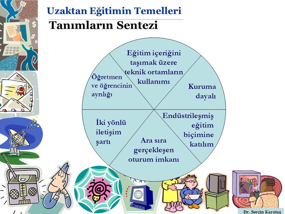 Dr. Serçin Karataş Uzaktan Eğitimin Temelleri Tanımların Sentezi Öğretmen ve öğrencinin ayrılığı Kuruma dayalı Eğitim içeriğini taşımak üzere teknik o