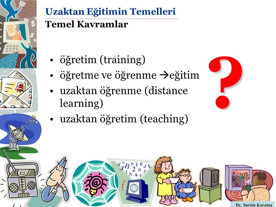 Dr. Serçin Karataş Uzaktan Eğitimin Temelleri Temel Kavramlar öğretim (training) öğretme ve öğrenme  eğitim uzaktan öğrenme (distance learning) uzakt