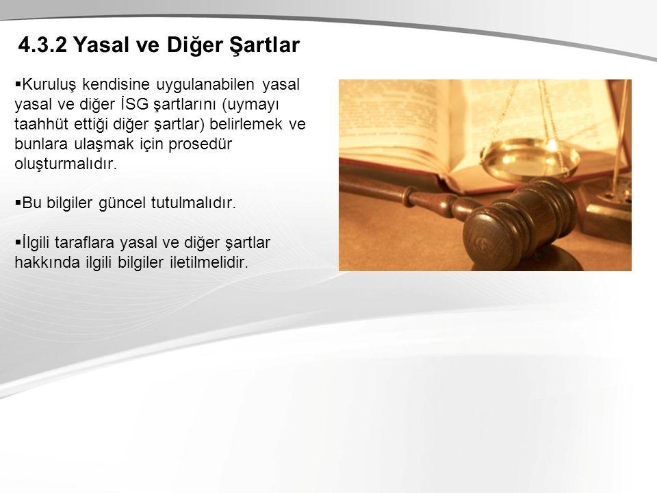 4.3.2 Yasal ve Diğer Şartlar  Kuruluş kendisine uygulanabilen yasal yasal ve diğer İSG şartlarını (uymayı taahhüt ettiği diğer şartlar) belirlemek ve bunlara ulaşmak için prosedür oluşturmalıdır.