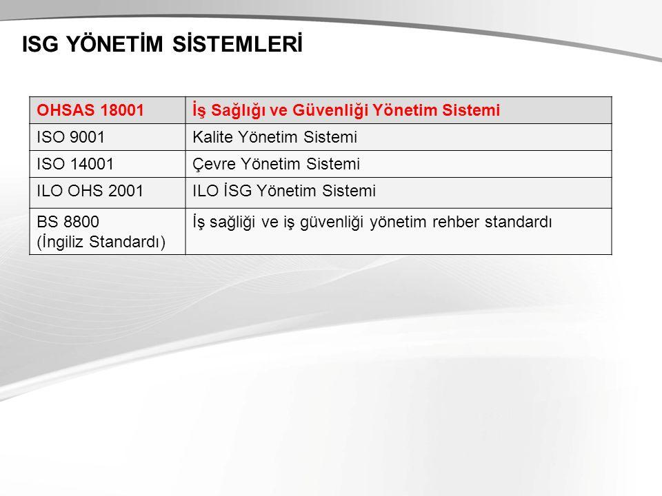 ISG YÖNETİM SİSTEMLERİ OHSAS 18001İş Sağlığı ve Güvenliği Yönetim Sistemi ISO 9001Kalite Yönetim Sistemi ISO 14001Çevre Yönetim Sistemi ILO OHS 2001ILO İSG Yönetim Sistemi BS 8800 (İngiliz Standardı) İş sağliği ve iş güvenliği yönetim rehber standardı