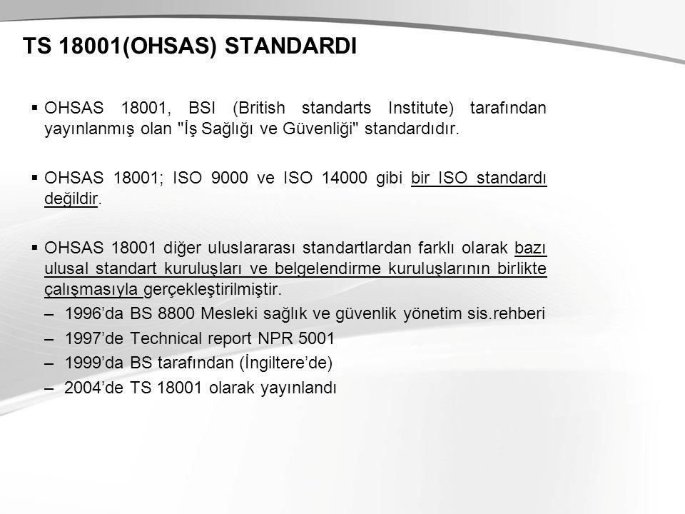 TS 18001(OHSAS) STANDARDI  OHSAS 18001, BSI (British standarts Institute) tarafından yayınlanmış olan İş Sağlığı ve Güvenliği standardıdır.
