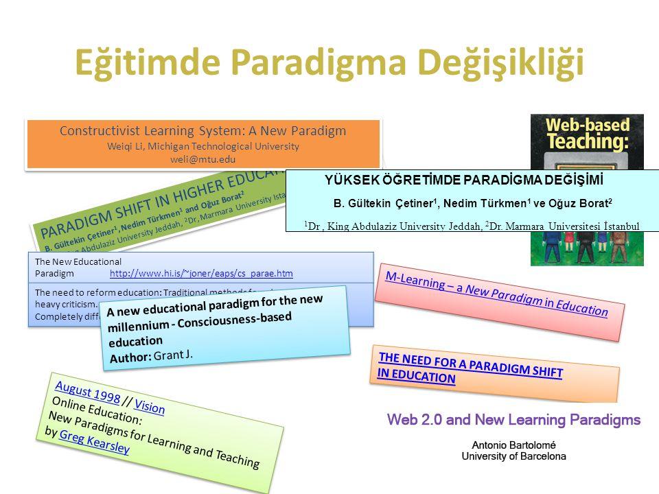 Eğitimde Paradigma Değişikliği PARADIGM SHIFT IN HIGHER EDUCATION B.