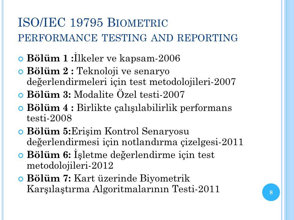 ISO/IEC 19795 B IOMETRIC PERFORMANCE TESTING AND REPORTING Bölüm 1 : İlkeler ve kapsam-2006 Bölüm 2 : Teknoloji ve senaryo değerlendirmeleri için test metodolojileri-2007 Bölüm 3: Modalite Özel testi-2007 Bölüm 4 : Birlikte çalışılabilirlik performans testi-2008 Bölüm 5: Erişim Kontrol Senaryosu değerlendirmesi için notlandırma çizelgesi-2011 Bölüm 6: İşletme değerlendirme için test metodolojileri-2012 Bölüm 7: Kart üzerinde Biyometrik Karşılaştırma Algoritmalarının Testi-2011 8