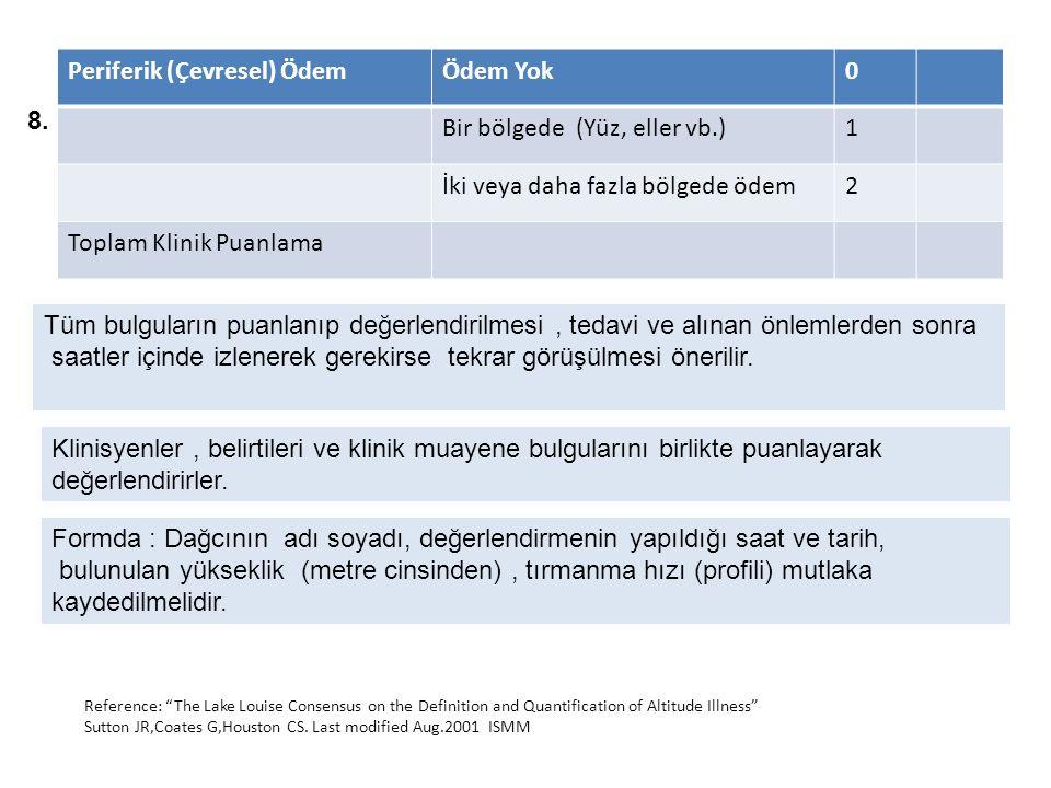 Periferik (Çevresel) ÖdemÖdem Yok0 Bir bölgede (Yüz, eller vb.)1 İki veya daha fazla bölgede ödem2 Toplam Klinik Puanlama 8.