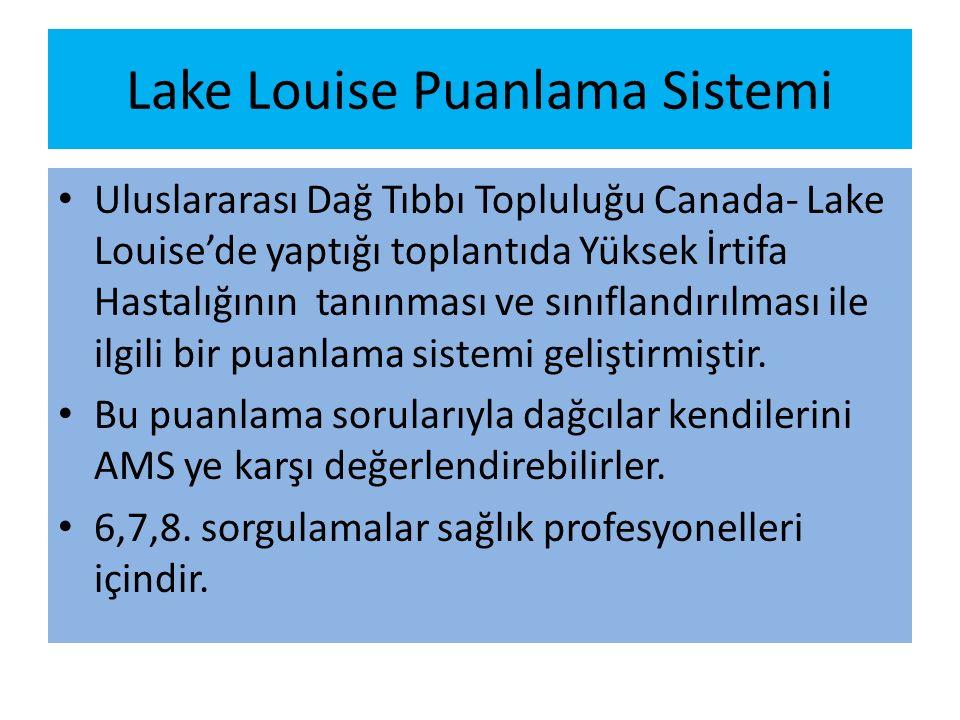 Lake Louise Puanlama Sistemi Uluslararası Dağ Tıbbı Topluluğu Canada- Lake Louise'de yaptığı toplantıda Yüksek İrtifa Hastalığının tanınması ve sınıflandırılması ile ilgili bir puanlama sistemi geliştirmiştir.