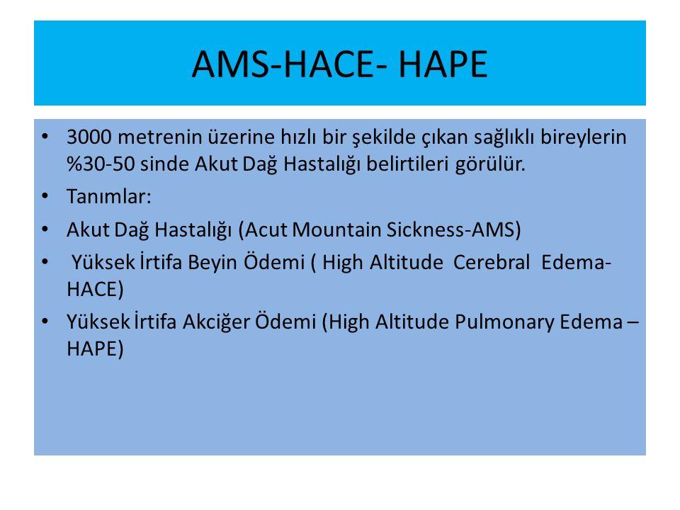 AMS-HACE- HAPE 3000 metrenin üzerine hızlı bir şekilde çıkan sağlıklı bireylerin %30-50 sinde Akut Dağ Hastalığı belirtileri görülür.