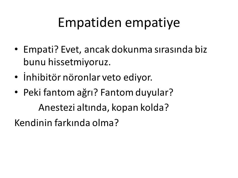 Empatiden empatiye Empati? Evet, ancak dokunma sırasında biz bunu hissetmiyoruz. İnhibitör nöronlar veto ediyor. Peki fantom ağrı? Fantom duyular? Ane