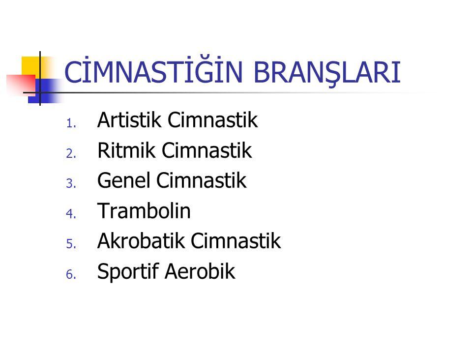 CİMNASTİĞİN BRANŞLARI 1.Artistik Cimnastik 2. Ritmik Cimnastik 3.