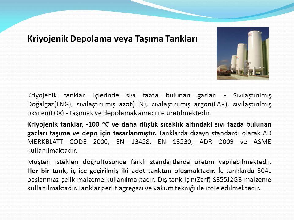 Kriyojenik Depolama veya Taşıma Tankları Kriyojenik tanklar, içlerinde sıvı fazda bulunan gazları - Sıvılaştırılmış Doğalgaz(LNG), sıvılaştırılmış azot(LIN), sıvılaştırılmış argon(LAR), sıvılaştırılmış oksijen(LOX) - taşımak ve depolamak amacı ile üretilmektedir.