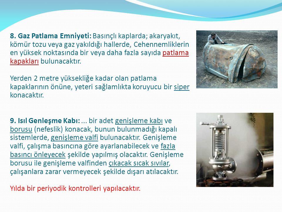 8. Gaz Patlama Emniyeti: Basınçlı kaplarda; akaryakıt, kömür tozu veya gaz yakıldığı hallerde, Cehennemliklerin en yüksek noktasında bir veya daha faz