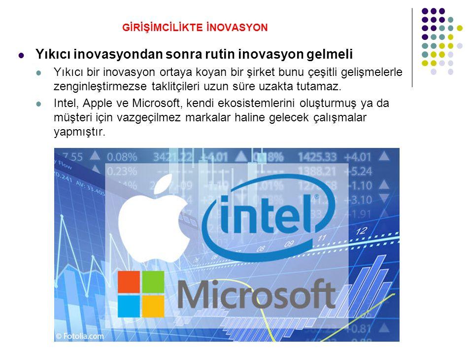 GİRİŞİMCİLİKTE İNOVASYON Yıkıcı inovasyondan sonra rutin inovasyon gelmeli Yıkıcı bir inovasyon ortaya koyan bir şirket bunu çeşitli gelişmelerle zenginleştirmezse taklitçileri uzun süre uzakta tutamaz.