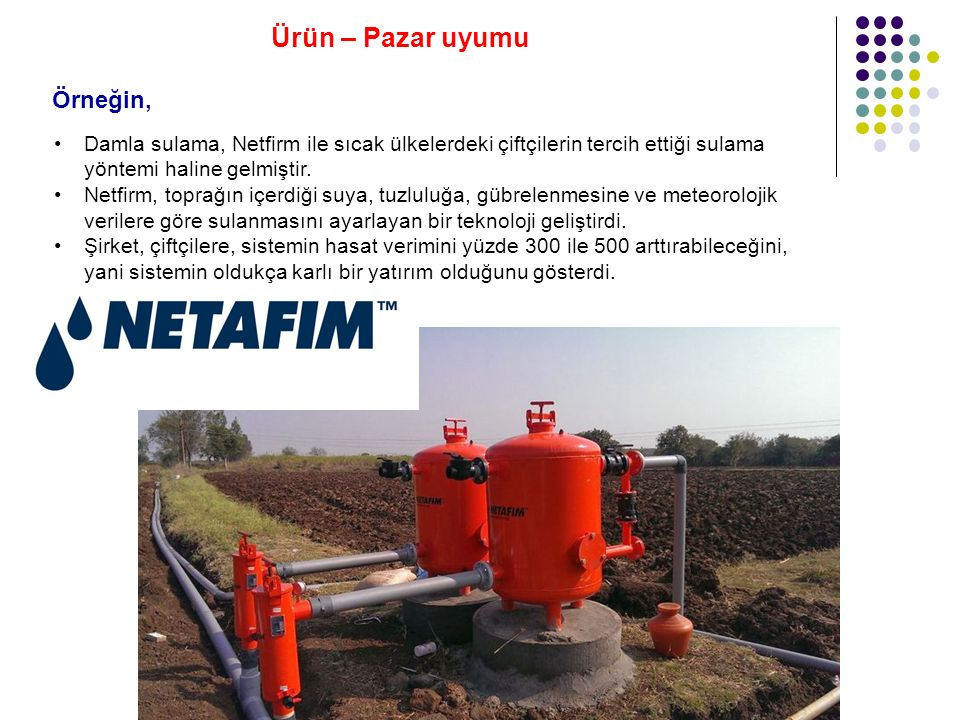 Damla sulama, Netfirm ile sıcak ülkelerdeki çiftçilerin tercih ettiği sulama yöntemi haline gelmiştir.