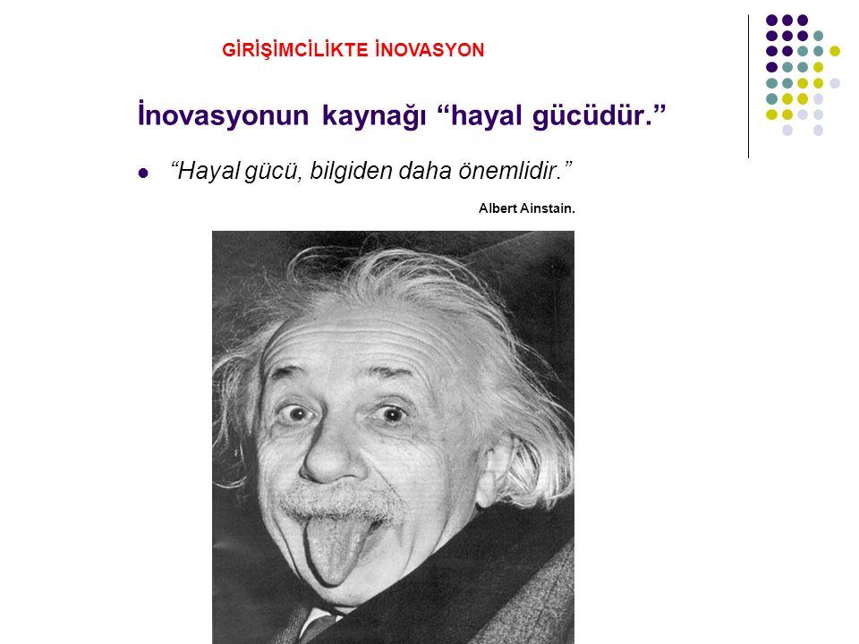İnovasyonun kaynağı hayal gücüdür. Hayal gücü, bilgiden daha önemlidir. Albert Ainstain.