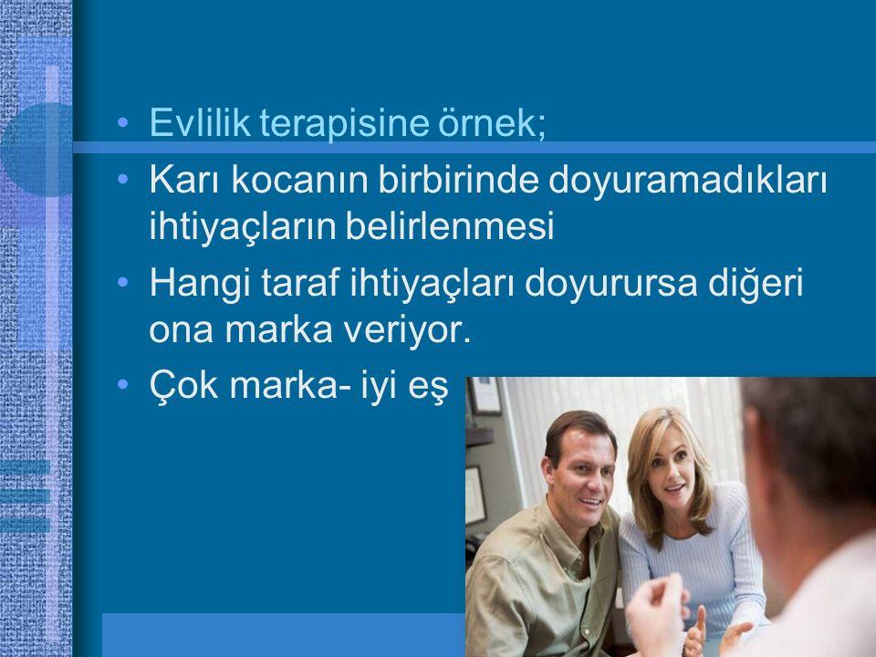 Evlilik terapisine örnek; Karı kocanın birbirinde doyuramadıkları ihtiyaçların belirlenmesi Hangi taraf ihtiyaçları doyurursa diğeri ona marka veriyor.