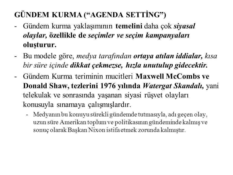GÜNDEM KURMA ( AGENDA SETTİNG ) -Gündem kurma yaklaşımının temelini daha çok siyasal olaylar, özellikle de seçimler ve seçim kampanyaları oluşturur.