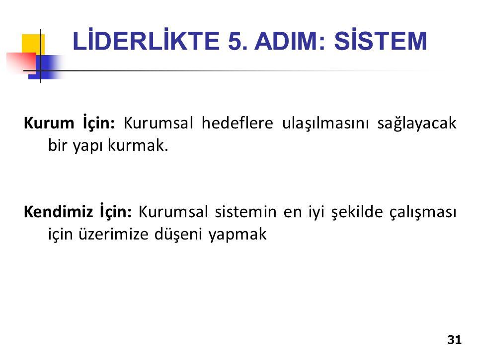 31 LİDERLİKTE 5.