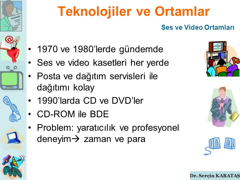 Dr. Serçin KARATAŞ Teknolojiler ve Ortamlar 1970 ve 1980'lerde gündemde Ses ve video kasetleri her yerde Posta ve dağıtım servisleri ile dağıtımı kola