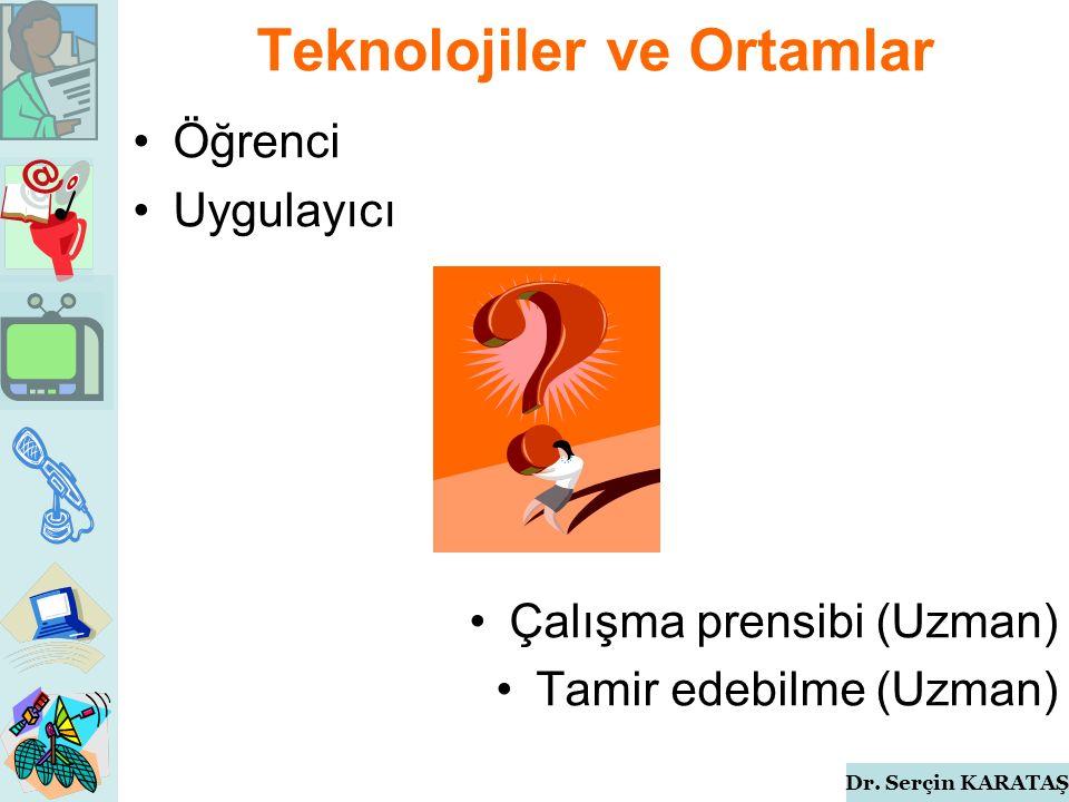 Dr. Serçin KARATAŞ Öğrenci Uygulayıcı Çalışma prensibi (Uzman) Tamir edebilme (Uzman) Teknolojiler ve Ortamlar