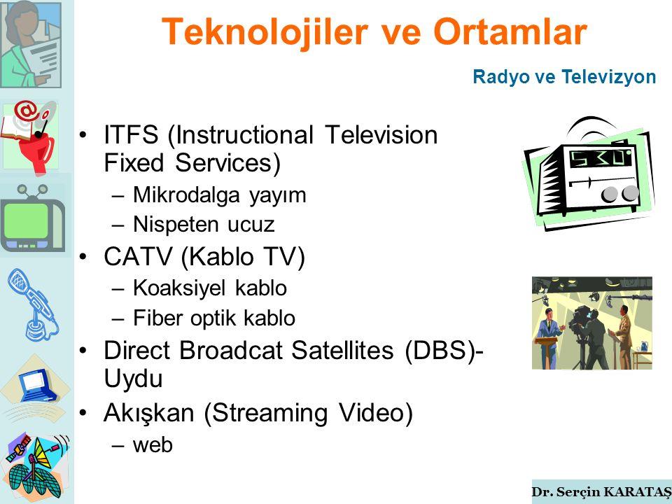 Dr. Serçin KARATAŞ Teknolojiler ve Ortamlar ITFS (Instructional Television Fixed Services) –Mikrodalga yayım –Nispeten ucuz CATV (Kablo TV) –Koaksiyel