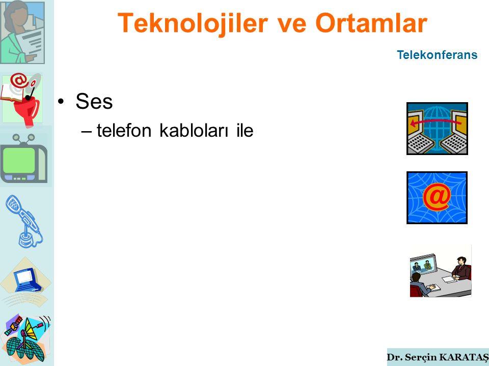 Dr. Serçin KARATAŞ Teknolojiler ve Ortamlar Ses –telefon kabloları ile Telekonferans