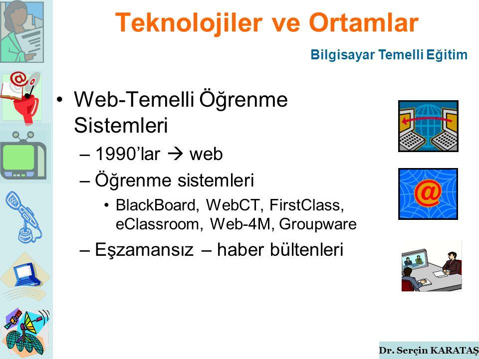Dr. Serçin KARATAŞ Teknolojiler ve Ortamlar Web-Temelli Öğrenme Sistemleri –1990'lar  web –Öğrenme sistemleri BlackBoard, WebCT, FirstClass, eClassro