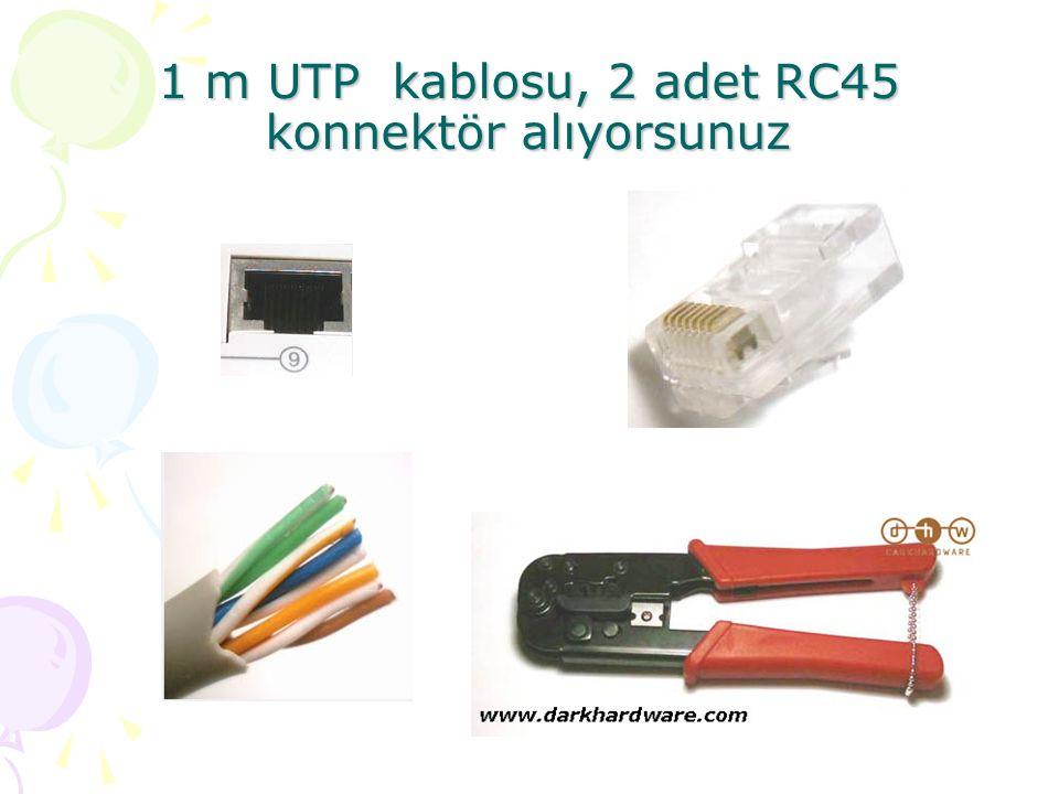 1 m UTP kablosu, 2 adet RC45 konnektör alıyorsunuz