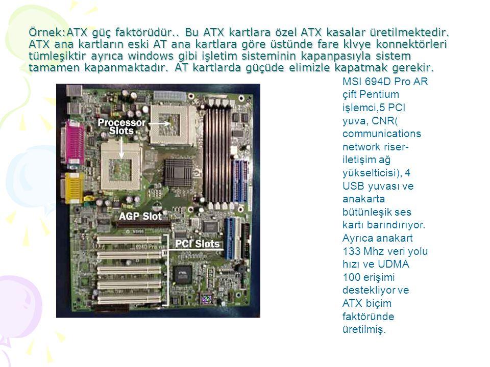 Örnek:ATX güç faktörüdür.. Bu ATX kartlara özel ATX kasalar üretilmektedir.
