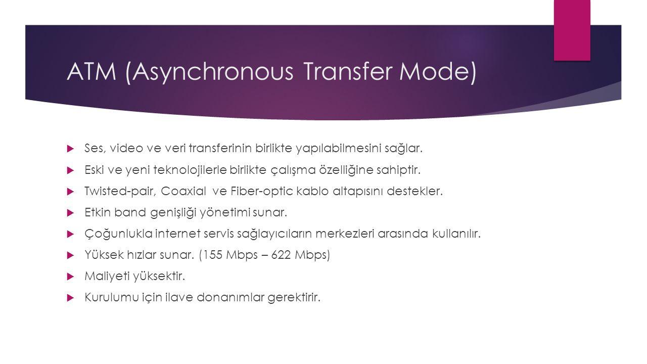 ATM (Asynchronous Transfer Mode)  Ses, video ve veri transferinin birlikte yapılabilmesini sağlar.