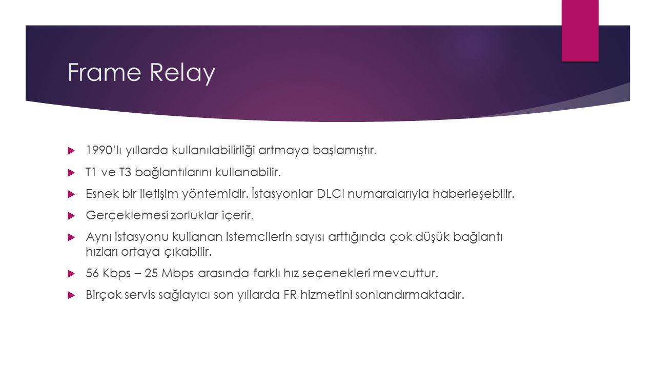 Frame Relay  1990'lı yıllarda kullanılabilirliği artmaya başlamıştır.  T1 ve T3 bağlantılarını kullanabilir.  Esnek bir iletişim yöntemidir. İstasy