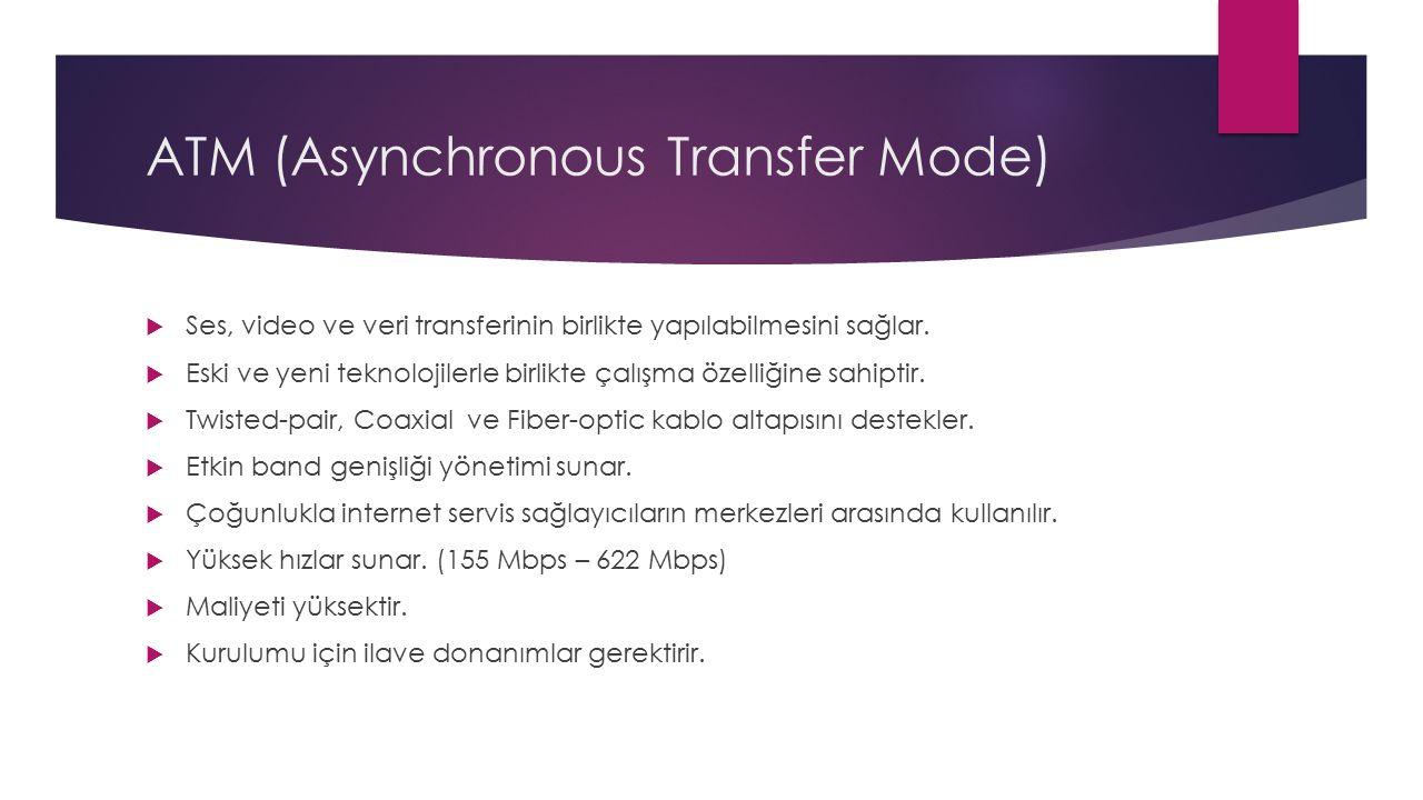 ATM (Asynchronous Transfer Mode)  Ses, video ve veri transferinin birlikte yapılabilmesini sağlar.  Eski ve yeni teknolojilerle birlikte çalışma öze