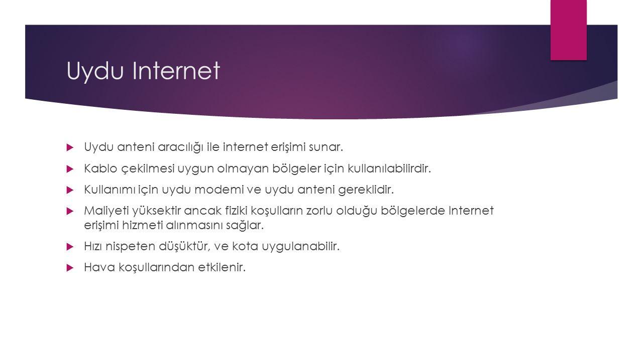Uydu Internet  Uydu anteni aracılığı ile internet erişimi sunar.  Kablo çekilmesi uygun olmayan bölgeler için kullanılabilirdir.  Kullanımı için uy