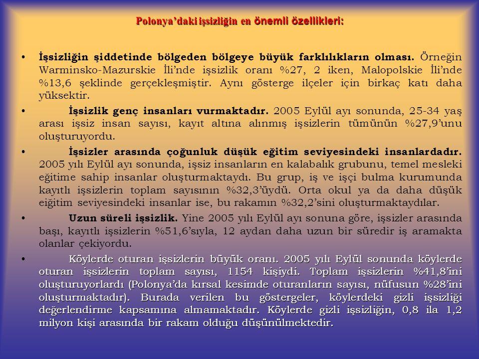 Polonya'daki işsizliğin en önemli özellikleri: İşsizliğin şiddetinde bölgeden bölgeye büyük farklılıkların olması. Örneğin Warminsko-Mazurskie İli'nde