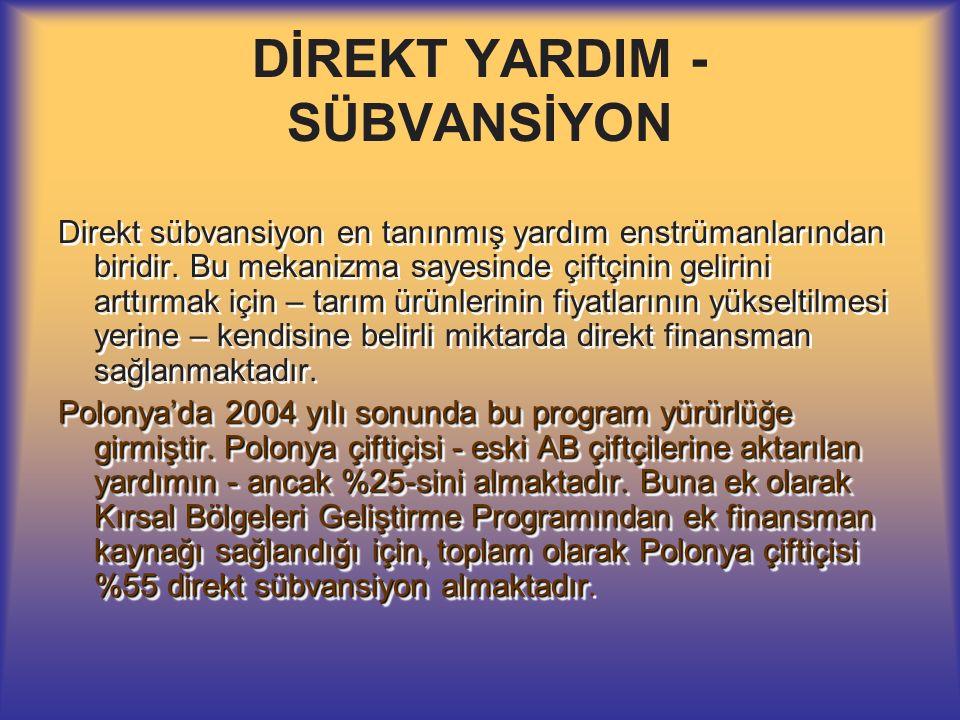 DİREKT YARDIM - SÜBVANSİYON Direkt sübvansiyon en tanınmış yardım enstrümanlarından biridir.