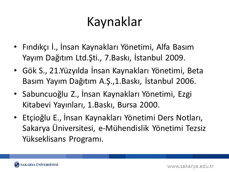 www.sakarya.edu.tr Fındıkçı İ., İnsan Kaynakları Yönetimi, Alfa Basım Yayım Dağıtım Ltd.Şti., 7.Baskı, İstanbul 2009. Gök S., 21.Yüzyılda İnsan Kaynak